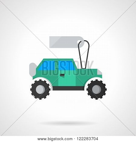 Flat blue SUV with tag vector icon