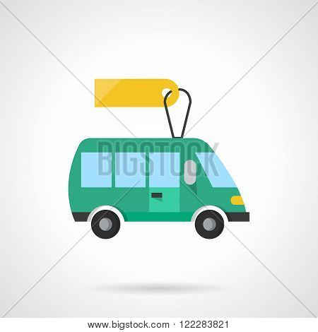 Green toy bus flat color vector icon