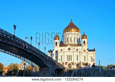 MOSCOW, RUSSIA - SEPTEMBER 17, 2012: Cathedral of Christ the Savior and the Patriarchal bridge across the River in Moscow