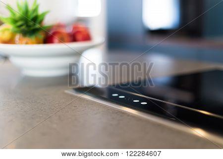 Modern Elegant Electronic Hob Macro Closeup Shot