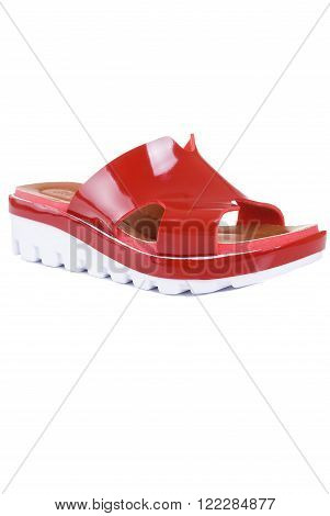 Red high heel slippers isolated on white background