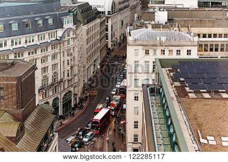 London, England - March 03, 2016: Aerial View of Traffic Rush and Road Signs on March 03, 2016 in London
