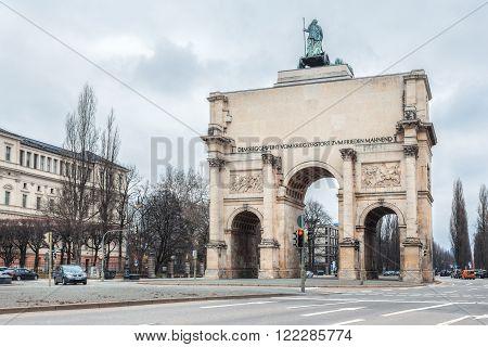Germany, Munich - MAR 12 : Triumphal Arch  on March 12, 2012 in Munich, Germany.