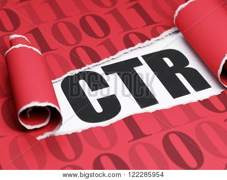 Finance concept: black text CTR under the piece of  torn paper