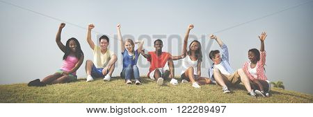 Diverse People Friendship Togetherness Happiness Arms Raised Concept