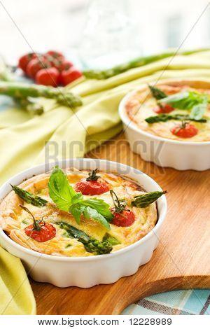 mini quiche with tomato cherry and green asparagus