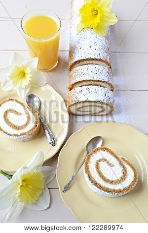 Carrot cake roll dessert with mascarpone cheese