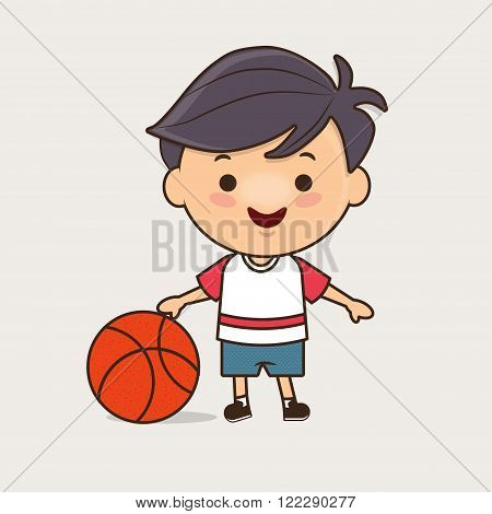 Teenager in sport clothes holding basketball, cute vector illustration