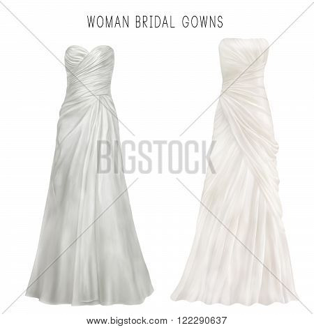 Illustration of white bridal gown - WEDDING DRESS