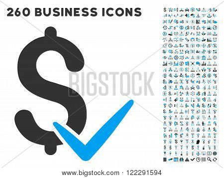 Accept Money icon within 260 vector business pictogram set. Style is bicolor flat symbols, light blue and gray colors, white background.