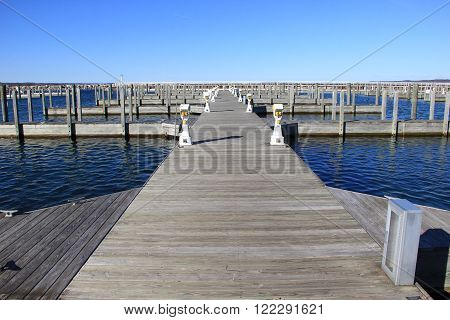 Empty dock at the afternoon in Traverse City, Michigan