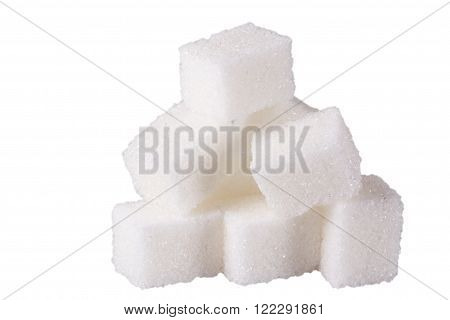 Cubes of sugar on white background, isolated