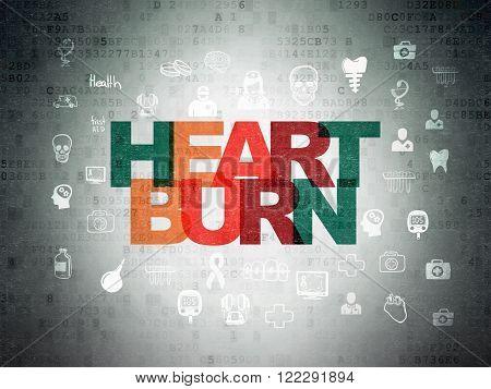 Health concept: Heartburn on Digital Paper background
