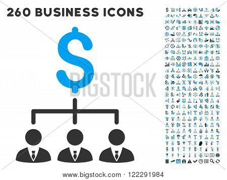 Banker Links icon within 260 vector business pictogram set. Style is bicolor flat symbols, light blue and gray colors, white background.
