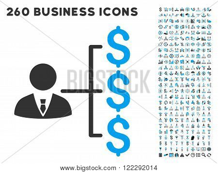 Banker Payments icon within 260 vector business pictogram set. Style is bicolor flat symbols, light blue and gray colors, white background.
