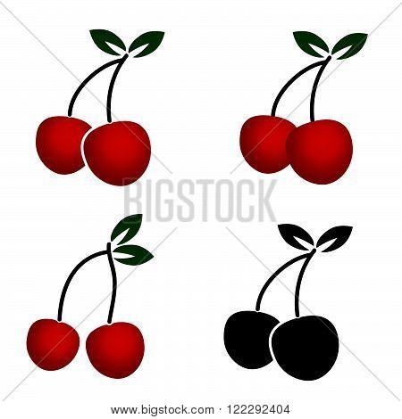 cherry dessert fruit illustration art in colorful