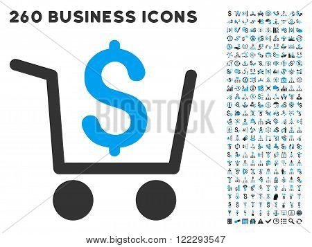 Checkout icon within 260 vector business pictogram set. Style is bicolor flat symbols, light blue and gray colors, white background.