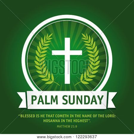 Template logo on the Palm sunday as the cross, green palm leaf and text Matthew 21:9. Palm sunday logo