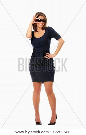 Sexy Woman Standing Over White Background