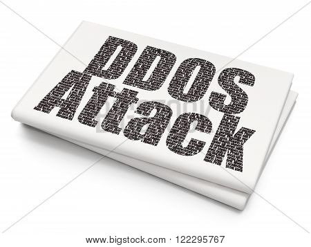 Protection concept: DDOS Attack on Blank Newspaper background