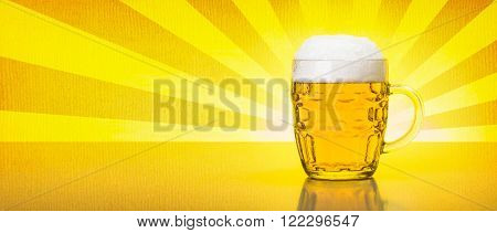 Old Fashioned Mug With Fresh, Foamy Beer