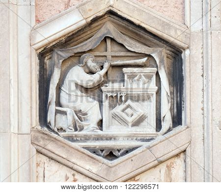 FLORENCE, ITALY - JUNE 05: Jubal by Nino Pisano, 1334-36., Relief on Giotto Campanile of Cattedrale di Santa Maria del Fiore (Cathedral of Saint Mary of the Flower), Florence, Italy on June 05, 2015