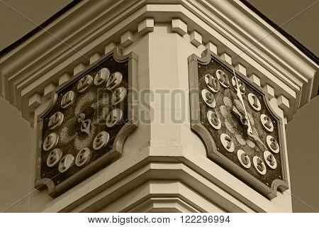 Clock tower of Kiev Academic Puppet Theater in Kiev Ukraine