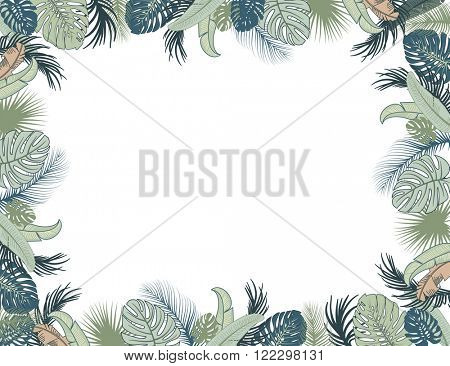 Vector tropical foliage frame, green and turquoise colors