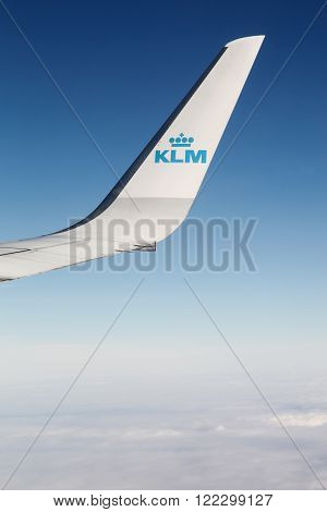 Netherlands - February 1, 2016: KLM is the flag carrier airline of the Netherlands. KLM is headquartered in Amstelveen, with its hub at nearby Amsterdam Airport Schiphol. It is part of the Air France-KLM group