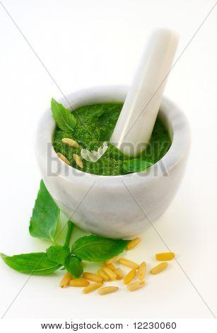 Pesto alla genovese  and ingredients for pesto