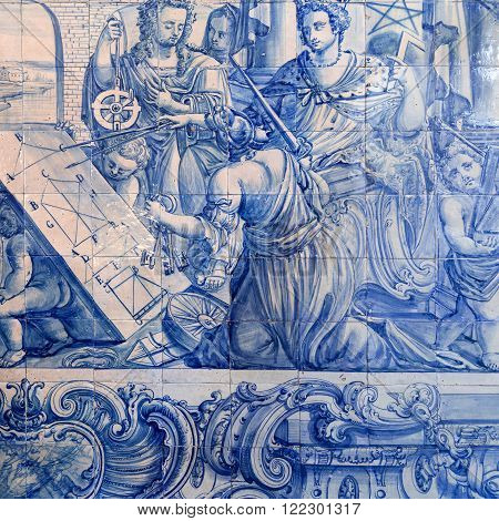 LISBON, PORTUGAL - October 26, 2015: Detail of a tiles panel from the 18th century depicting a mathematics class in Saint Joseph Hospital on October 26, 2015 in Lisbon, Portugal