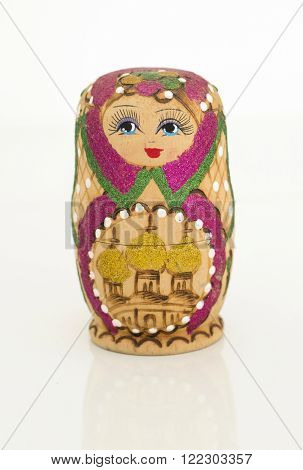 Matryoshka russian doll on isolated white background