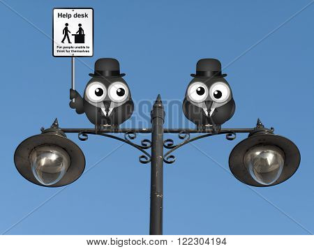 Comical Help Desk sign with birds perched on a lamppost against a clear blue sky