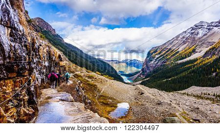 Hiking down to Lake Louise on the Trail from the Plain of Six Glaciers  in Banff National Park in the Canadian Rocky Mountains