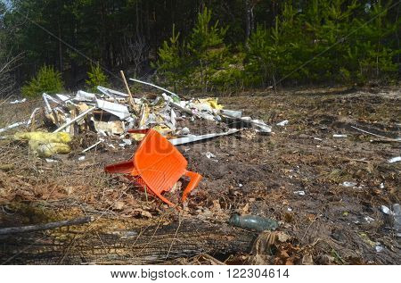 KIEV REGION, UKRAINE - MAR 16, 2016: Environmental contamination.Illegal junk dump.March 16, 2016 Kiev Region, Ukraine