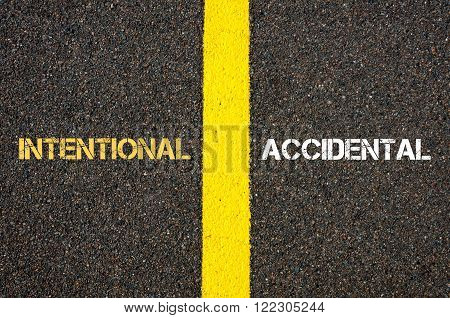 Antonym concept of INTENTIONAL versus ACCIDENTAL written over tarmac, road marking yellow paint separating line between words