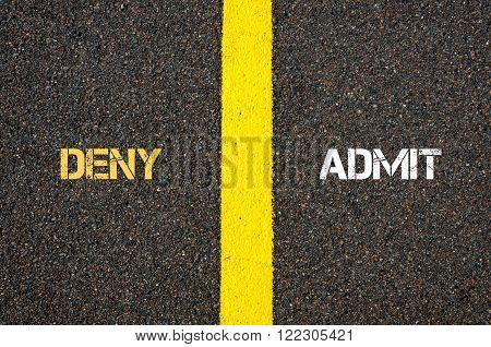Antonym Concept Of Deny Versus Admit