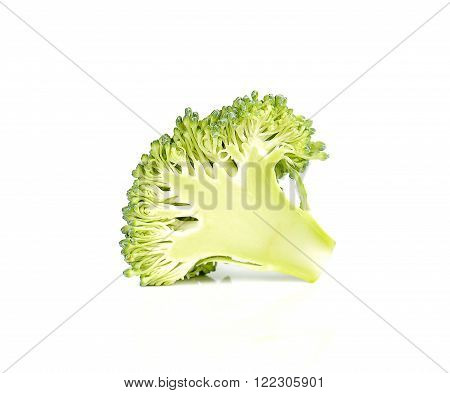 Brocoli cut half isolated on white background.