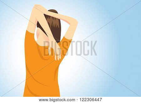 Muscles stretching posture for aches treatment at shoulder, arm and back from sitting long time