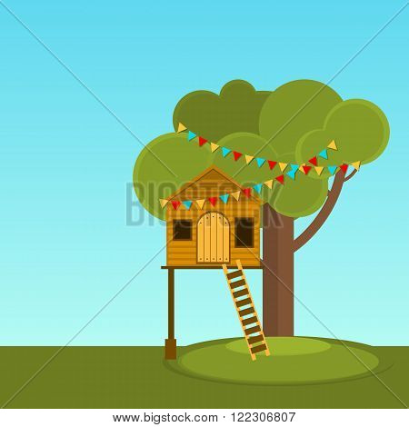 Tree House children's games. Playhouse on the tree. Secret place.