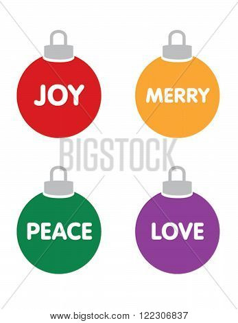 Vector Christmas Ball Ornament Set With Messaging