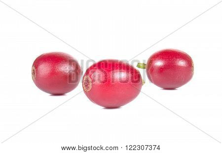 Fresh coffee beans , Fresh red beans isolated on white background.