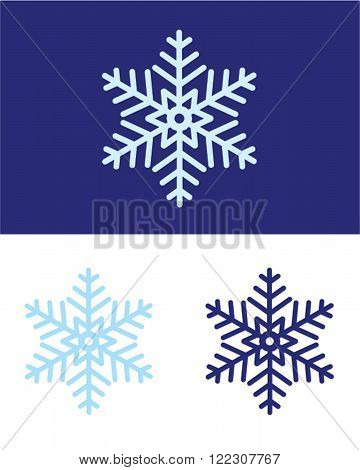 Vector Snowflake Set in Purple and Blue