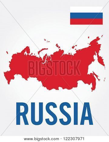 Vector Russian Map and Flag Icon Set