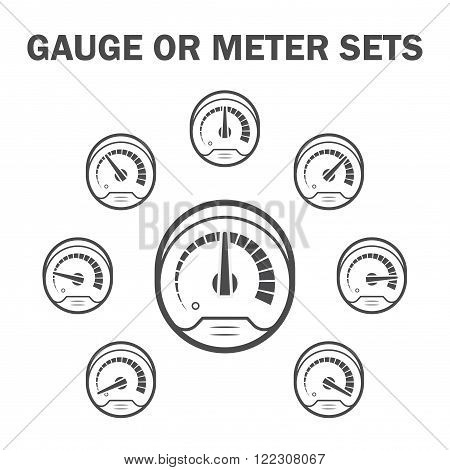 Gauge or meter vector icons sets design.