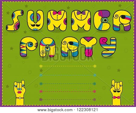 Inscription Summer Party. Funny yellow Letters with bright parts