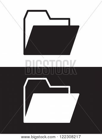 Vector File Folder Icon Set in Black and Reverse