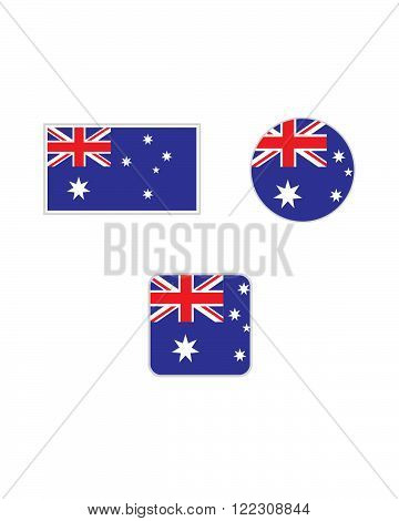 Vector Australian Flag and Icon Symbol Set