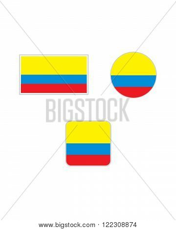 Vector Colombian Flag and Icon Symbol Set