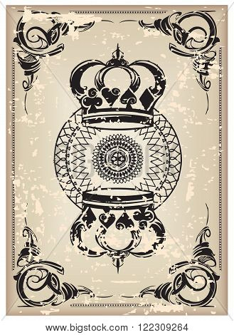 The reverse side of an old playing card. Vector illustration.